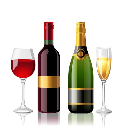 Red wine and champaigne with 2 full glasses Stock Vector - 18382315