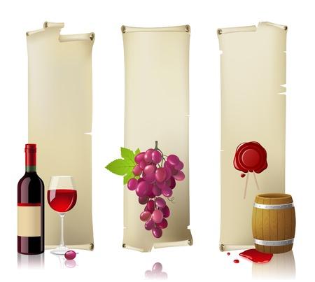 barrels set: Vertical retro-styled wine banners
