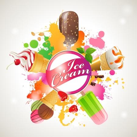 comiendo helado: Fondo brillante con diferentes tipos de helados