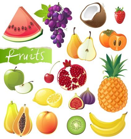exotic fruits: Fresh juicy fruits set