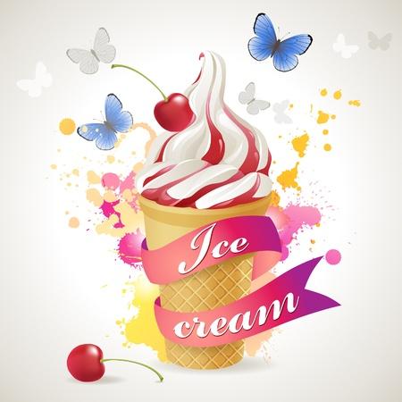 coppa di gelato: Gelato su sfondo luminoso