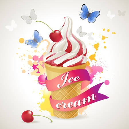 Ice cream over bright background Illustration