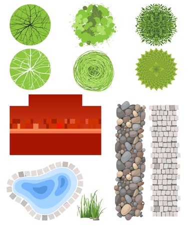 Highly detailed landscape design elements - easy to make your own plan   Vector