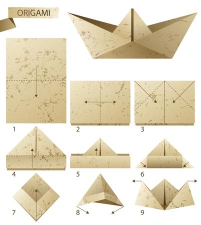 instructions: 9 passi di istruzioni come fare barchetta di carta Vettoriali