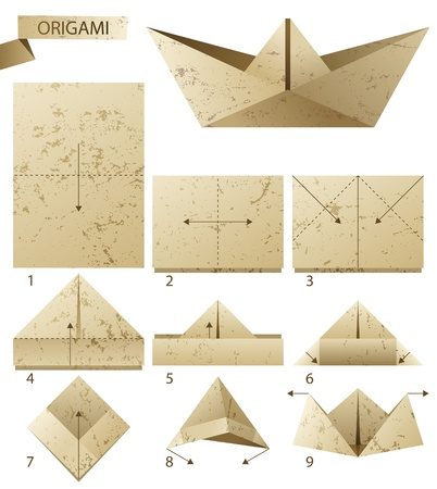 9 steps instruction how to make paper boat Vector