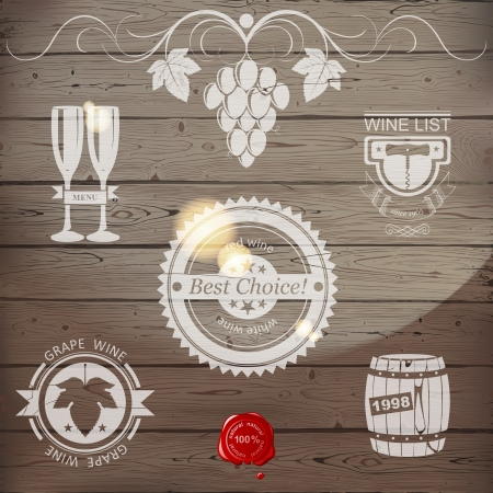 grunge bottle: Stylized wine emblems on wooden background