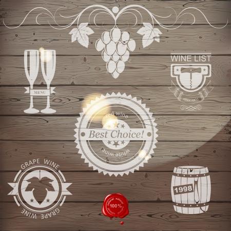Stylized wine emblems on wooden background