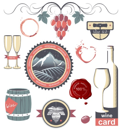 Stylized wine emblems for your designs Stock Vector - 18783880