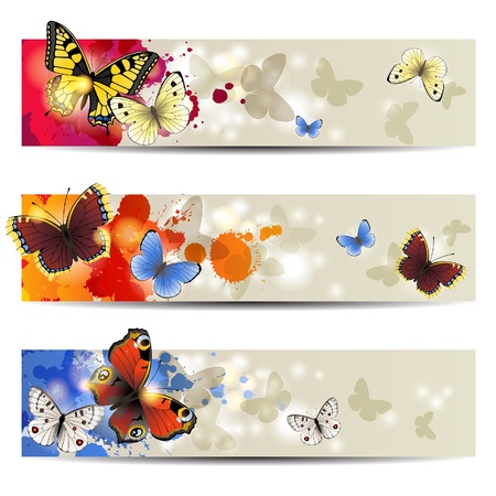 3 bright shiny banners with butterflies Vector
