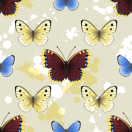 tints: Seamless background with butterflies and paint splashes