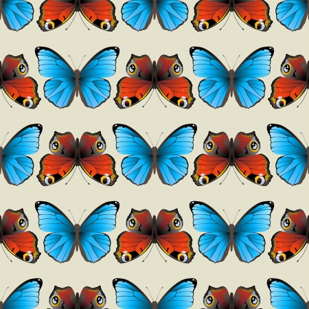 morpho: Retro-styled seamless butterfly ornament made with clipping mask