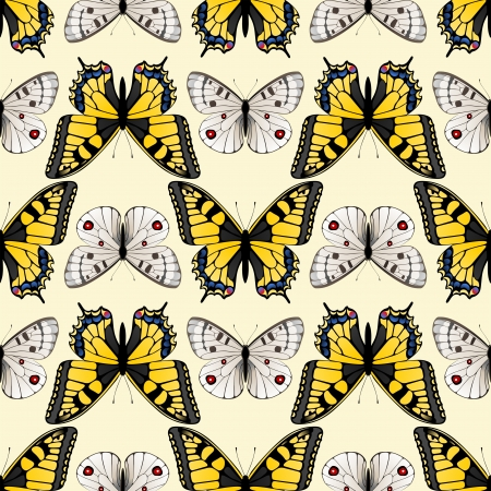 swallowtail butterfly: Retro-styled seamless butterfly ornament made with clipping mask
