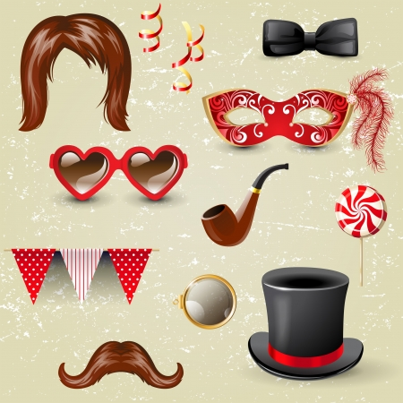 hair bow: Retro-styled fancy dress elements Illustration