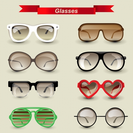 eyewear fashion: 8 highly detailed glasses icons Illustration
