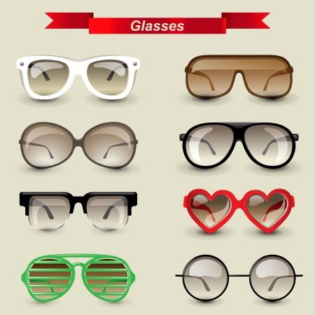 fashion sunglasses: 8 highly detailed glasses icons Illustration