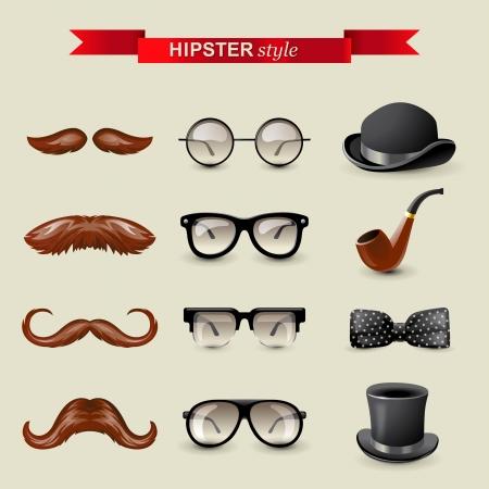 visage homme: 12 accessoires tr�s d�taill�es de style hipster Illustration
