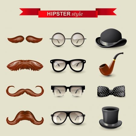 12 highly detailed hipster style accessories Stock Vector - 19184893