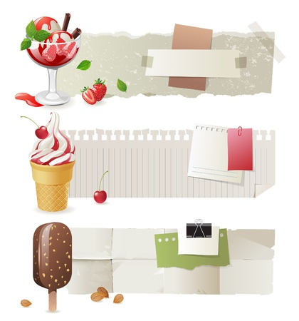 milk drop: Horizontal paper banners with colorful ice cream Illustration