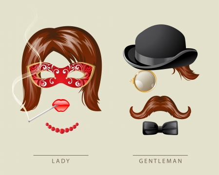 Lady and gentleman fancy dress in retro style Stock Vector - 19184906