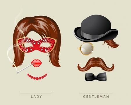 Señora y caballero vestido de lujo de estilo retro