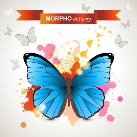morpho: Morpho butterfly over bright background Illustration