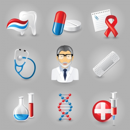 highly: 9 highly detailed medical icons