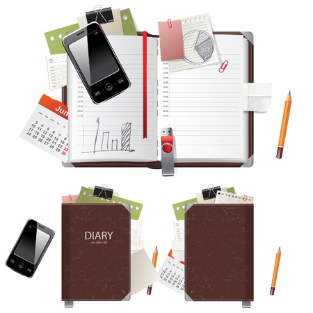 Open and closed diary and office supplies Illustration