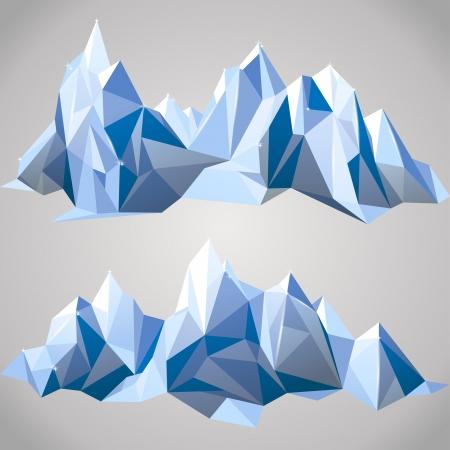 gla�on: 2 bordures horizontales avec des montagnes de papier Illustration