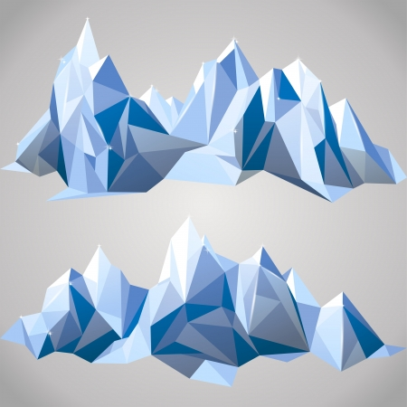 iceberg: 2 horizontal borders with paper mountains