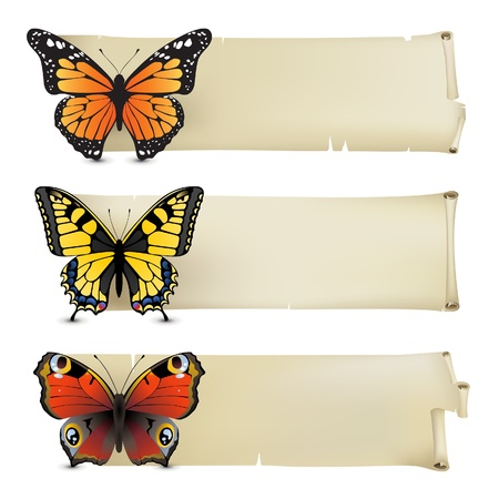 Retro-styled banners with butterflies Vector