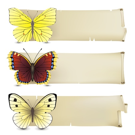 Retro-styled banners with butterflies