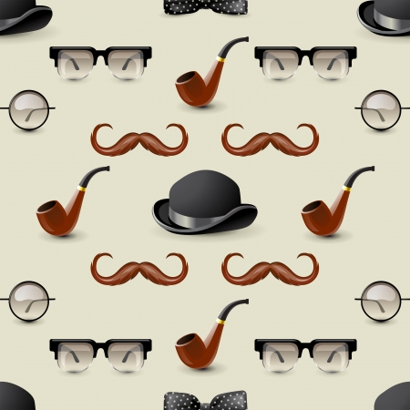 Retro-styled seamless ornament with men accessories Vector