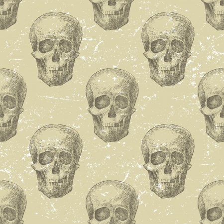 Retro-styled background with hand drawn skulls Vector