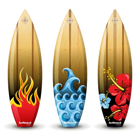 surf silhouettes: 3 colorful woored surf boards Illustration