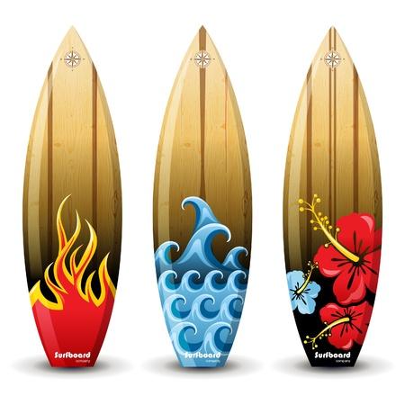 hawaii islands: 3 colorful woored surf boards Illustration