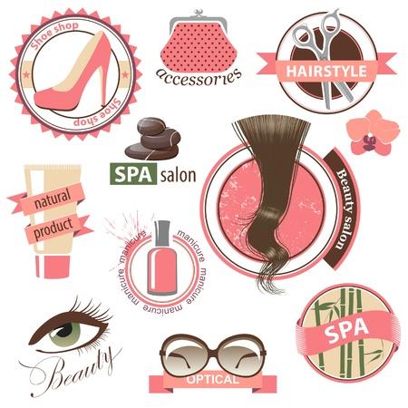 Conjunto muy detallado de la belleza y la moda emblemas Ilustración de vector