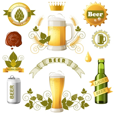 Set of bright beer emblems Vector