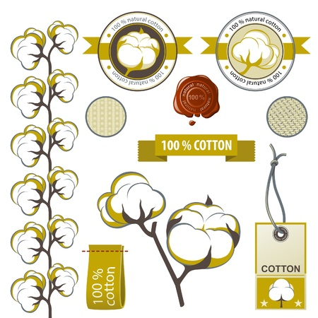 Highly detailed cotton emblems set Vector