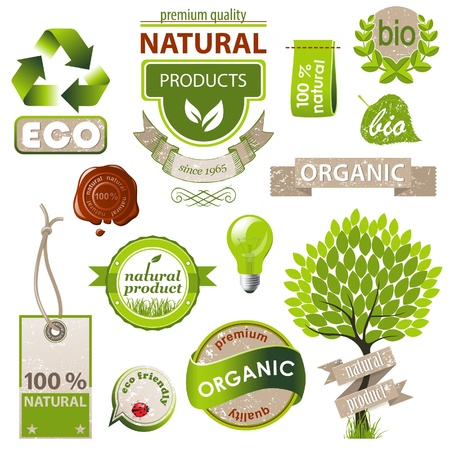 organic plants: Highly detailed ecology and nature emblems set