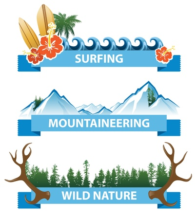 3 horizontal highly detailed adventure banners Vector