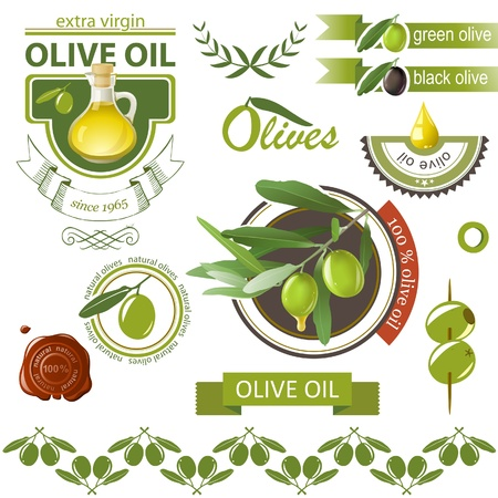 Highly detailed olives emblems set Vector