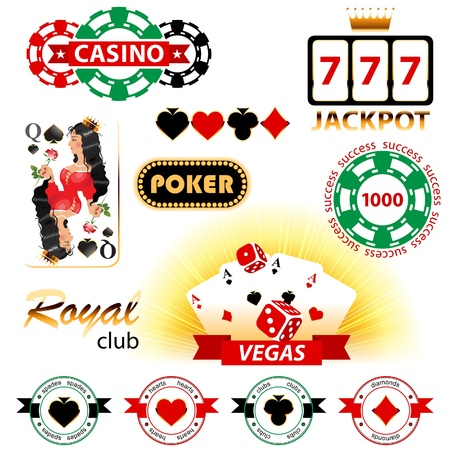 Great set of casino signs and emblems Illustration