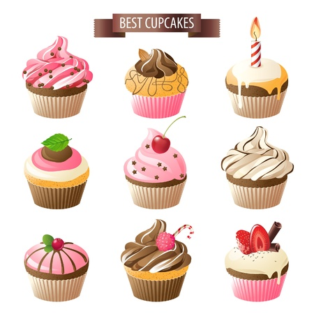 cupcake illustration: Set of 9 colorful cupcakes