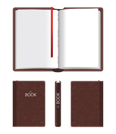 Open and closed book over white background Illustration