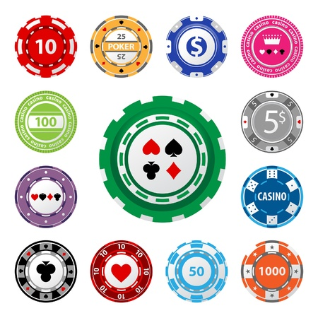 Great set of gambling chips for your designs!  Иллюстрация