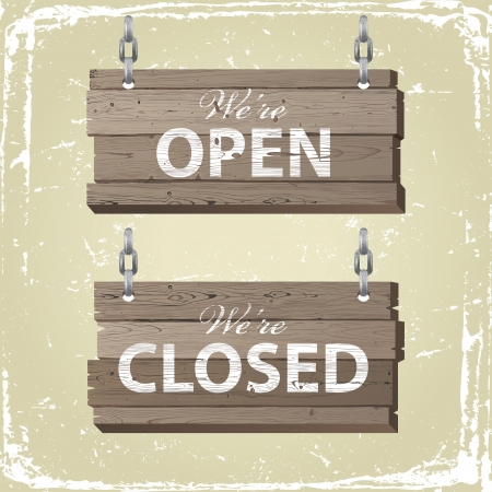 old wooden door: Open and closed retro-styled wooden signs Illustration