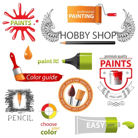 Colorful paint icons and emblems  Vector