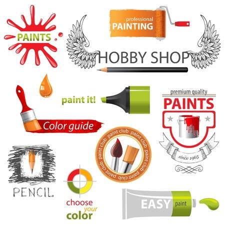 art and craft equipment: Iconos coloridos de la pintura y emblemas Vectores