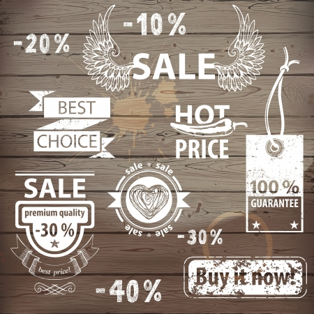 sale tags: Great sale icons set with hand drawn design elements.