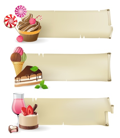 confection: 3 retro-styled banners with sweets and candies